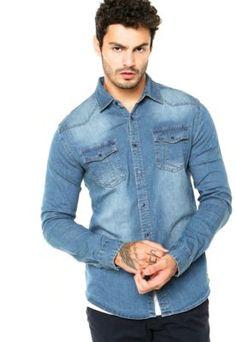 Camisa Broken Rules Bolsos Azul Manish Outfits bfd567f1f0e