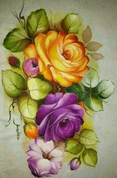 Rosas luis Arte Floral, Unique Drawings, Art Drawings, Watercolor Flowers, Watercolor Art, Tole Painting Patterns, Beautiful Flowers Wallpapers, Chicken Art, Color Magic