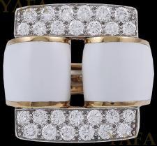 DAVID WEBB Two Tone Diamond and White Enamel Ring