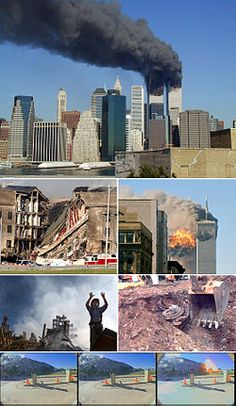 A montage of eight images depicting, from top to bottom, the World Trade Center towers burning, the collapsed section of the Pentagon, the impact explosion in the south tower, a rescue worker standing in front of rubble of the collapsed towers, an excavator unearthing a smashed jet engine, three frames of video depicting airplane hitting the Pentagon