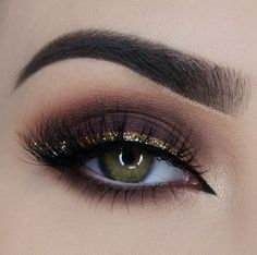 Gold Glittery Liner and Brown