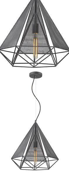 Bring a futuristic edge to your modern dining room with this edgy light fixture. The Galactic Light Fixture descends from a whimsically curved cord and boasts an intricately designed caged metal shade....  Find the Galactic Light Fixture, as seen in the The Dark Side of Mid-Century Collection at http://dotandbo.com/collections/the-dark-side-of-mid-century?utm_source=pinterest&utm_medium=organic&db_sku=118090