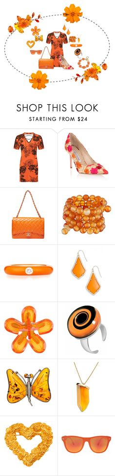 """""""Spring Is In Bloom - Orange"""" by malecsizzyclace ❤ liked on Polyvore featuring WearAll, Manolo Blahnik, Kenneth Jay Lane, Adolfo Courrier, Kendra Scott, Dsquared2, Akuamarina, Givenchy, Ray-Ban and 1st & Gorgeous by Carolee"""