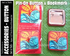 Bright Square Pin-on Button and Bookmark Set. Large 1-1/2 Square Pin-on Buttons. YW Young Women 2017 Mutual Theme Ask of God Ask in Faith James 1:5-6 Scripture.  Great incentive gift for Personal Progress, New Beginnings, or birthday gift for Young Women. Also makes a wonderful gift for your favorite missionary or any Christian friend. Christmas Gift or stocking stuffer. Also nice gift for mutual Young Women Leaders, Advisors, Bishopric, Relief Society Visiting Teaching... Purchase Butto...