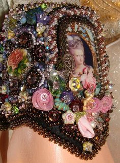 Items similar to RESERVED for Nadia Victorian Bead Embroidery Cuff Bracelet Marie Antoinette Let Them Eat Cake on Etsy Bead Embroidery Jewelry, Ribbon Embroidery, Beaded Jewelry, Beaded Bracelets, Jewelry Rings, Jewlery, Perler Beads, Tambour Beading, Lesage