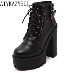 AIYKAZYSDL 2018 Spring Gothic Shoes Women Lace Up Gladiator Buckle Strap  Martin Ankle Boots Block Chunky Ultra High Heel Creeper Price  62.98   FREE  ... 773fb3688438