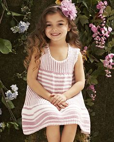 Knit Simple Spring/Summer 2012 Striped Dress pattern by Margery Winter Girls Knitted Dress, Crochet Dress Girl, Knit Baby Dress, Free Childrens Knitting Patterns, Knitting For Kids, Easy Knitting, Little Girl Dresses, Girls Dresses, Simple Dresses