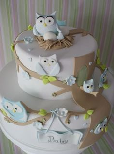 baby shower cakes for a boy WITH OWLS | owl cake | Flickr - Photo Sharing! This could. R used as gender reveal.