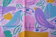 KEN DONE STUNNING BIRDS VINTAGE SCARF 1986