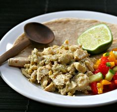 Slow cooker green chile chicken recipe [ThePerfectPantry.com] | Paleo