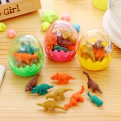 1 PCS Creative Kawaii Cute 3D Dinosaur Egg Shaped Mini Pencil Eraser Stationery School Rubbers Office Supplies Student Rewarding