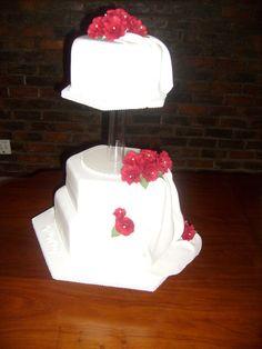 Red & white hexagon cake