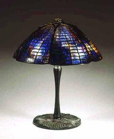 "15"" Spider and Web Tiffany Lamp #1424 & Mushroom Bronze lamp base #337"