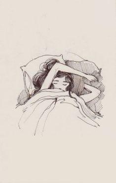 i just want to drown all my thoughts in a long & heavy slumber Ich möchte nur alle meine Gedanken in Love Drawings Tumblr, Art Drawings, Art Sketches, Buch Design, Girl Sleeping, Sleeping Drawing, My Demons, Illustration Art, Feelings