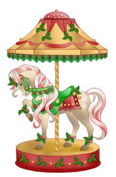 CHRISTMAS CAROUSEL HORSE CLIP ART