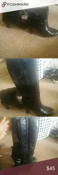 Boots These are very comfortable. I just don't wear them often. They have an extra zipper for extra room if you have thicker calf muscles like me. They've only been worn 3 times. They come just under the knee. Aldo Shoes
