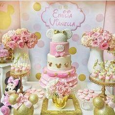 Resultado de imagem para festa minnie rosa e dourado