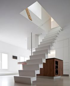 Modern white stairs apartment