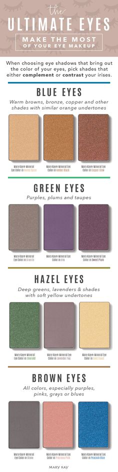 When choosing eye shadows that bring out the color of your eyes, pick shades that either complement or contrast your irises. Play up gorgeous brown, hazel, green or blue eyes with shadows that help them stand out! | Mary Kay