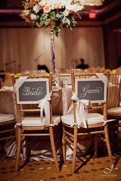 Bride & Groom chair signs on mini chalkboards from the Gardner wedding...perfect for our bride who is a school teacher! / www.keelythorne.com / J. Cogliandro Photography