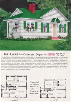 1940 - Aladdin Kit Homes Catalog-The Gables. I like the roof lines & layout for this cottage. Would work nicely with an even smaller home plan.