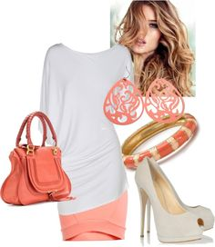 """peachy"" by leily-mejia on Polyvore"