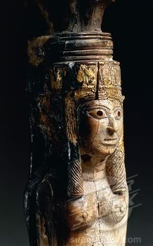 , Ivory caryatids supporting a palm shaped capital, From Nimrud, Iraq, Assyrian civilization,
