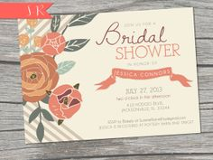 NEW - FALL Chevron Bridal Shower Invitation - Printable/Digital