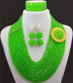 Green Crystal Bright African Beads Jewelry Set Statement Necklace Nigerian Wedding Jewelry Set Costume Jewellry Sets 10017 #Affiliate
