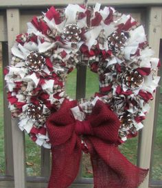 HANDMADE WINTER / CHRISTMAS RAG WREATH W/ RED BURLAP BOW & SNOW TIPPED PINECONES