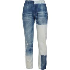 Stella McCartney Faded Blue Patchwork Boyfriend Jeans ($705) ❤ liked on Polyvore featuring jeans, feather blue, skinny jeans, mid rise boyfriend jeans, mid-rise jeans, boyfriend fit jeans and zipper skinny jeans