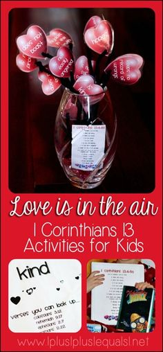 Love Activities for Kids Based on 1 Corinthians 13 {with printables} - a bouquet out of printable hearts!