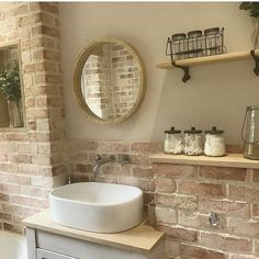Here's What I Know About Faux Brick Wall Bathroom decoryourhomes com is part of Oak shelves - Ideas Baños, Faux Brick Walls, Oak Shelves, Bathroom Cleaning, Beautiful Bathrooms, Bathroom Inspiration, Bathroom Interior, Small Bathroom, Brick Bathroom