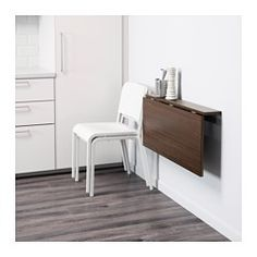 IKEA - BJURSTA, Wall-mounted drop-leaf table, Becomes a practical shelf for small things when folded down.You save space when the table is not being used as it can be folded away.The clear-lacquered surface is easy to wipe clean.