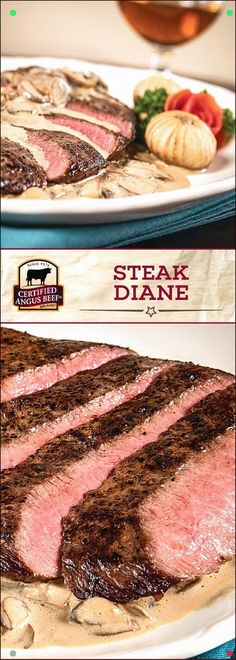 Steak Diane is a CLASSIC recipe made even better with Certified Angus Beef®️️️ brand flat iron steaks. Made with heavy cream, Dijon mustard, Worcestershire sauce, and Cognac, this incredible steak recipe is perfect for a dinner for two. Best Beef Recipes, Barbecue Recipes, Steak Recipes, Cooking Recipes, Bbq, Steak Diane Recipe, Pork Burgers, Flat Iron Steak, Angus Beef
