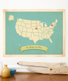 Love this Blue USA Roots Large Customizable Map Print by Fresh Words Market on #zulily! #zulilyfinds