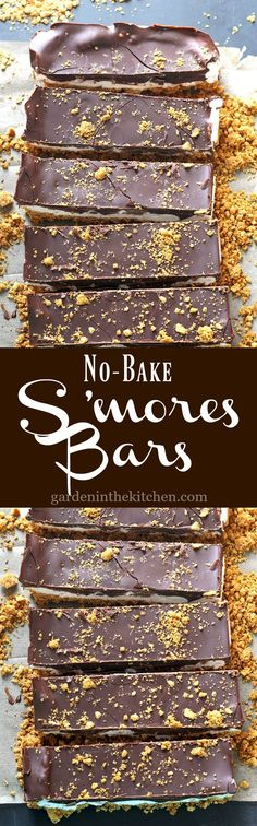 These No-Bake S'mores Bars are a fun spin on the classic s'mores. These S'mores Bars are the perfect combination of sweet chewy, and crunchy! No Bake Treats, No Bake Desserts, Easy Desserts, Yummy Treats, Delicious Desserts, Sweet Treats, Dessert Recipes, Bar Recipes, Picnic Desserts