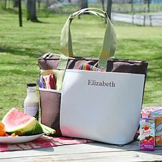 Personalized Insulated Summertime Picnic Tote - a great gift for all ladies for her birthday, as a bridesmaid gift or anytime a special gift for her is needed!