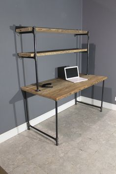 Raw Reclaimed Computer Desk W/ 2 Shelves Attach To Wall - Industrial Gas Piping…