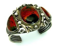 1940's Navajo Hand Tooled Petrified Wood Agate Sterling Bracelet |