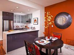 Love the orange accent wall.