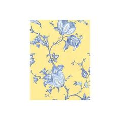 WALLPAPER - FLORALS - JACOBEAN FLORAL - French Country Blue and Yellow Floral Wallpaper - Discount Wallpaper Blinds and Home Decor found on Polyvore