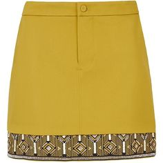 Sass & Bide No Time To Sleep Mini Skirt (865 BAM) ❤ liked on Polyvore featuring skirts, mini skirts, bottoms, faldas, gonne, mustard, zipper mini skirt, fitted mini skirt, mustard yellow skirt and short brown skirt
