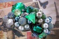 Green explosion. Super chunky cuff bracelet. by OutsiderArtJewelry, $25.00