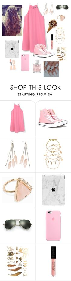 """summer baby"" by eliyanakubelis on Polyvore featuring MANGO, Converse, Charlotte Russe, Accessorize, NLY Accessories, Ray-Ban, Jimmy Choo, Pink, polyvorecontest and summerdate"