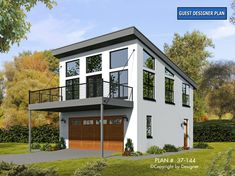 Modern garage apartment plan works well as a weekend retreat or guest house and offers a garage, 2 bedrooms and 1 bath; Garage Apartment Plans, Garage Apartments, Cool Apartments, Garage Plans, Garage Ideas, Apartment Bedrooms, Barn Plans, Modern Garage, Modern House Plans