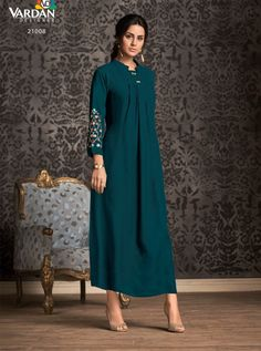 VARDAN D.NO.-21008 RATE : 641 - MIRAAZ VOL-1 BY VARDAN DESIGNER  VARDAN 21001 TO 21008 SERIES  STYLISH COLORFUL FANCY BEAUTIFUL CASUAL WEAR & ETHNIC WEAR HEAVY RAYON LONG KURTIS AT WHOLESALE PRICE AT DSTYLE ICON FASHION CONTACT: +917698955723 - DStyle Icon Fashion