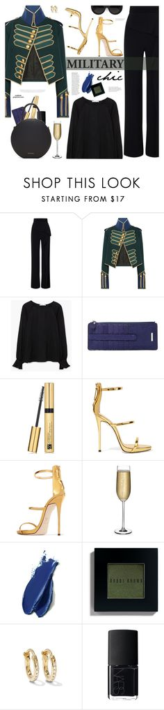 """Military Chic"" by mylkbar ❤ liked on Polyvore featuring Roland Mouret, Burberry, MANGO, Lodis, Estée Lauder, Giuseppe Zanotti, Nude, Anja, Balmain and Bobbi Brown Cosmetics"