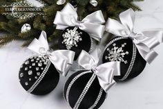 Christmas rhinestones ornaments, Handmade balls in gift box, Xmas decorations, Tree decor set, Black Black Christmas Decorations, Unique Christmas Ornaments, Handmade Ornaments, Gold Christmas, Christmas Wreaths, Christmas Crafts, Homemade Christmas, Beaded Ornaments, Glitter Ornaments