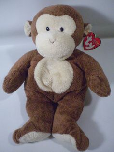 "TY Pluffies DANGLES the Brown Monkey Chimp Plush Stuffed 10"" Animal"